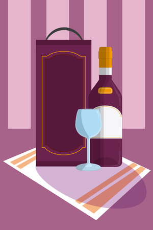 Wine bottle with cup on tablecloth vector illustration graphic design