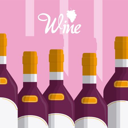Wine bottles cartoons vector illustration graphic design Illustration