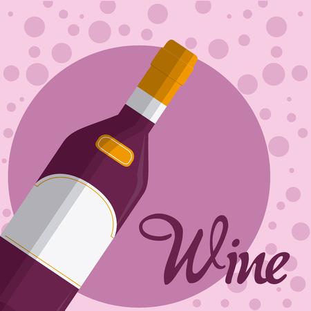 Wine bottle drink on purple bubbles vector illustration graphic design