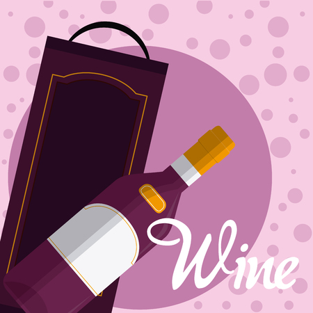 Wine bottle with box on purple bubbles vector illustration graphic design Illustration