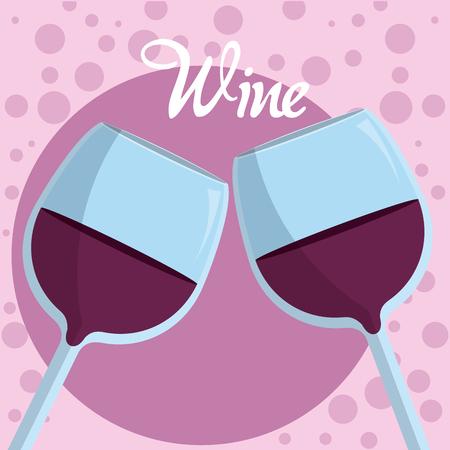 Wine glass cups on purple bubbles vector illustration graphic design Illustration