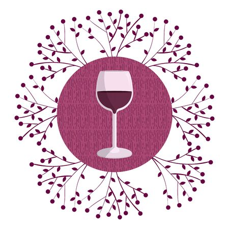 Wine round symbol with grapes branches vector illustration graphic design Illustration