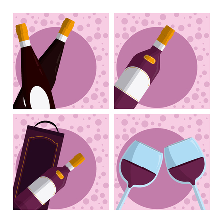 Set of wine collection cartoons vector illustration graphic design