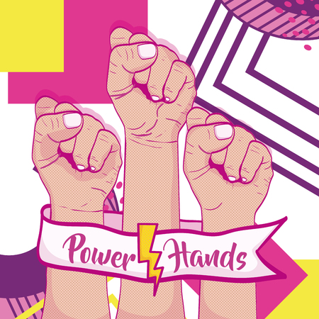Girl power with hand clenched memphis vector illustration graphic design