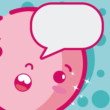 Cute kawaii emoji with bubble vector illustration graphic design