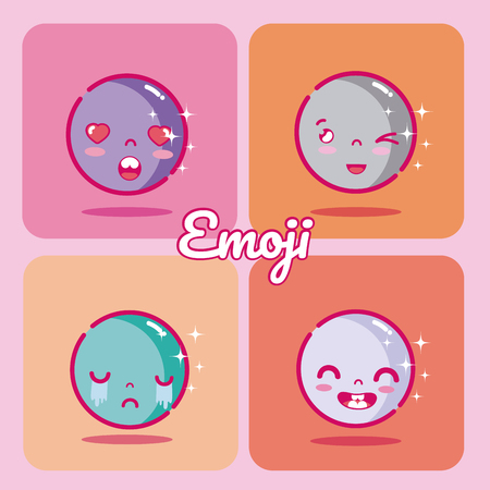 Set of cute emojis Stock Illustratie