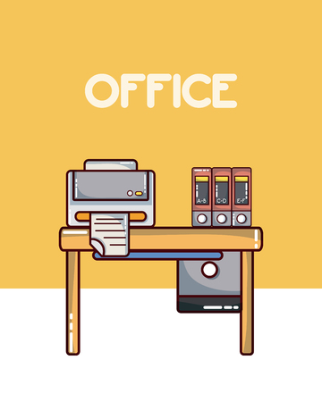 Office workplace interior with elements vector illustration graphic design
