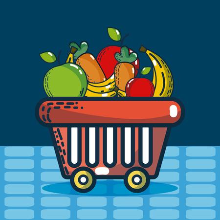 Basket with groceries supermarket products Vector illustration. Illustration