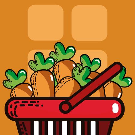 Basket with carrots supermarket products Vector illustration. Illustration