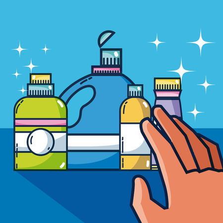 Hand grabbing detergent bottles Vector illustration.