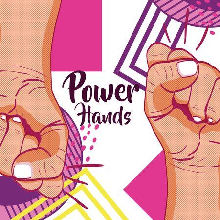 Girl power memphis style Vector illustration.