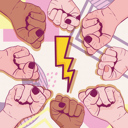 Girl power memphis style Vector illustration.