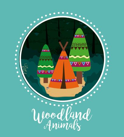 Woodland tent at forest cartoon vector illustration graphic design Illustration