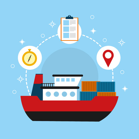 Freighter delivery service with ship on blue background. Vector illustration.