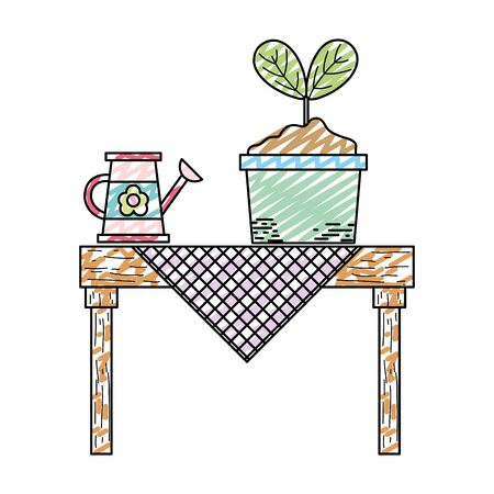 Doodle watering can and plant in the dining table Illustration