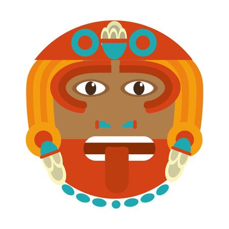 aztec sun god culture symbol vector illustration