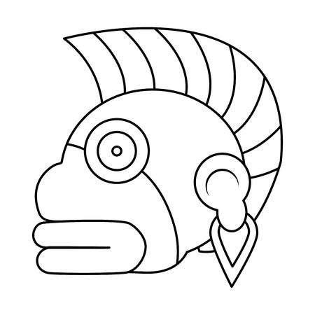 line indigenous ozamatli native culture symbol vector illustration