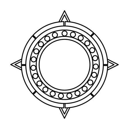 line sun aztec culture traditional symbol vector illustration