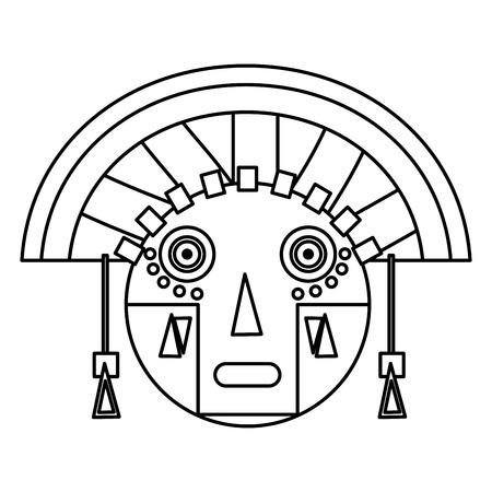 line aztec indigenous sculpture traditional symbol vector illustration