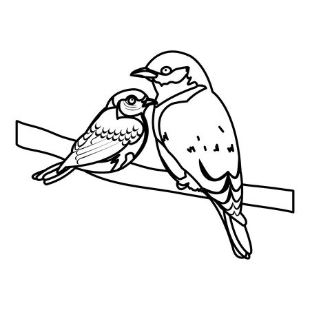 line beauty bird animal with it son in the branch vector illustration