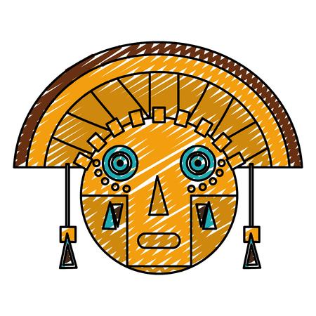 doodle aztec indigenous sculpture traditional symbol vector illustration