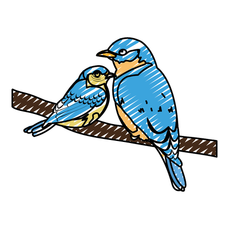 doodle beauty bird animal with it son in the branch vector illustration