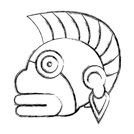 grunge indigenous ozamatli native culture symbol vector illustration Illustration