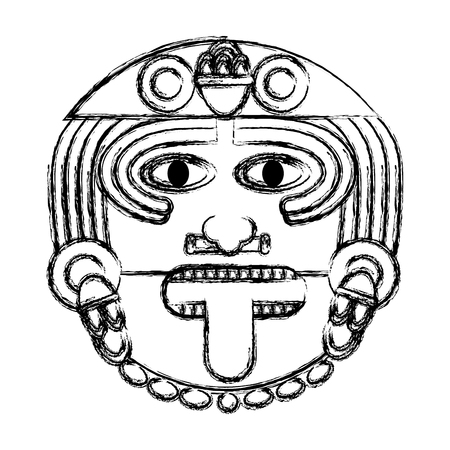 grunge aztec sun god culture symbol vector illustration Illustration