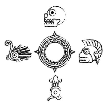 grunge indigenous traditional culture native symbols vector illustration Illustration