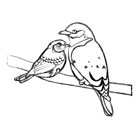 grunge beauty bird animal with it son in the branch vector illustration
