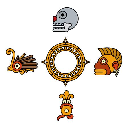 Color de la cultura tradicional indígena símbolos nativos ilustración vectorial Ilustración de vector