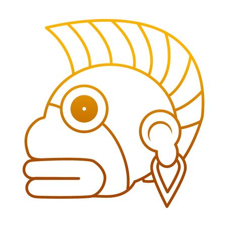 degraded line indigenous ozamatli native culture symbol vector illustration Illustration