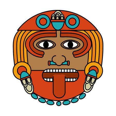 Color Aztec Sun God Culture Symbol Vector Illustration Royalty Free