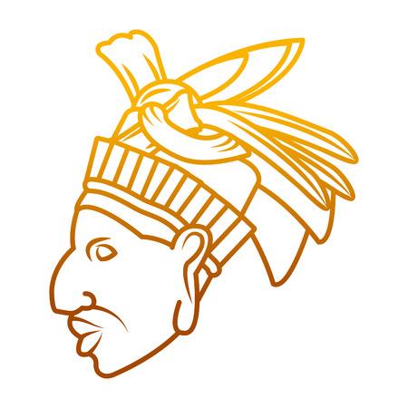 Línea degradada tradicional cacique escultura símbolo nativo ilustración vectorial
