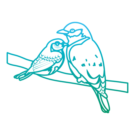 degraded line beauty bird animal with it son in the branch vector illustration