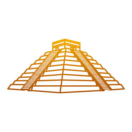degraded line chitchen itza pyramid aztec temple vector illustration