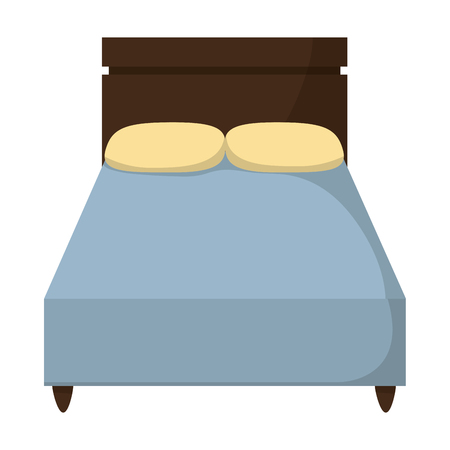 Wood bed with comfort pillows to sleep illustration.