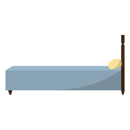 Side way bed object with comfort pillow illustration.