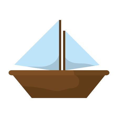 wood sailboat sea transportation direction vector illustration Illustration
