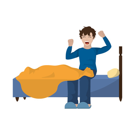 Man walking up and yawning in the bed illustration.