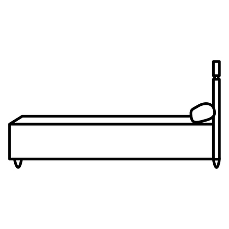 line sideway bed object with comfort pillow Illustration