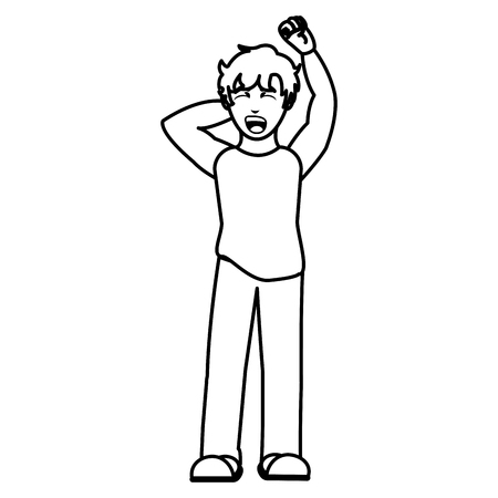 line man waking up with pajama and yawning Vector illustration.
