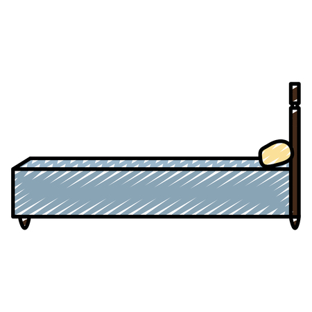 doodle sideway bed object with comfort pillow Vector illustration.