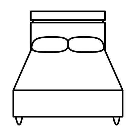 line wood bed with comfort pillows to sleep Vector illustration. Illustration
