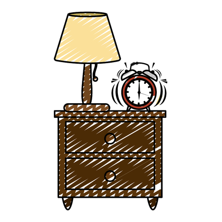 doodle lamp and clock alarm in the wood bedside table