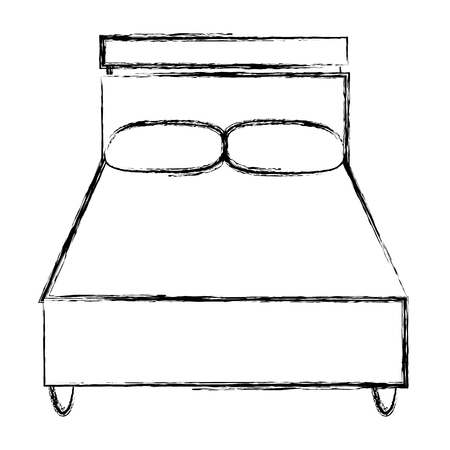 grunge wood bed with comfort pillows to sleep Vector illustration.