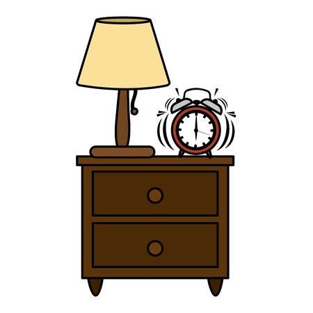 color lamp and clock alarm in the wood bedside table