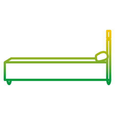 degraded line sideway bed object with comfort pillow Illustration