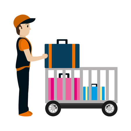 delivery man with luggage container service vector illustration 矢量图像