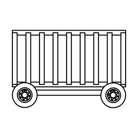 line baggage trolley container service transportation vector illustration